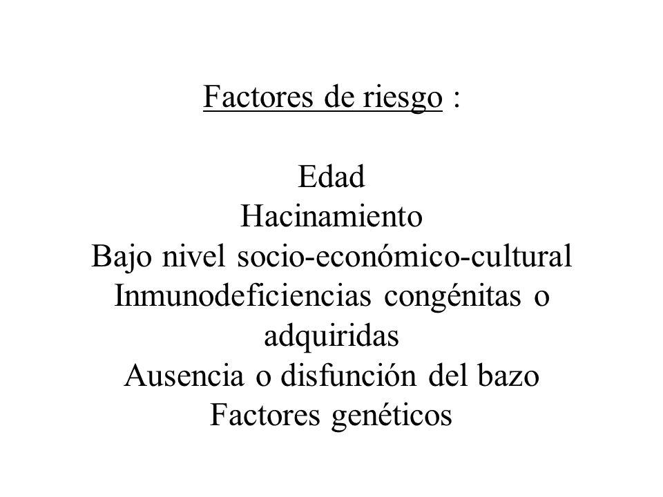 Factores de riesgo : Edad Hacinamiento Bajo nivel socio-económico-cultural Inmunodeficiencias congénitas o adquiridas Ausencia o disfunción del bazo Factores genéticos