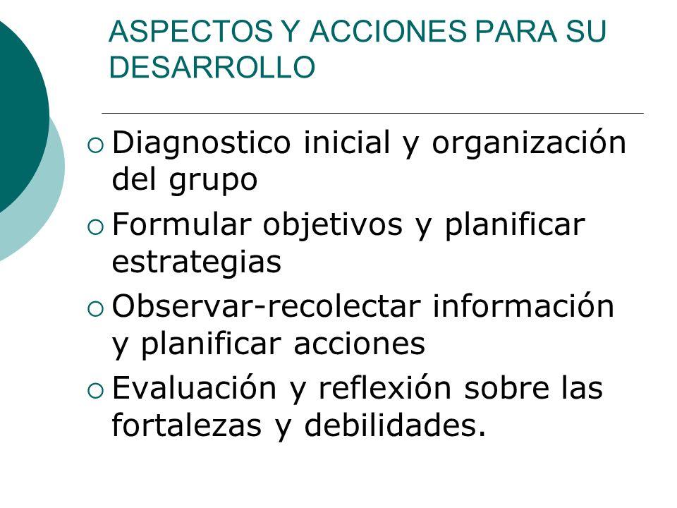 ASPECTOS Y ACCIONES PARA SU DESARROLLO