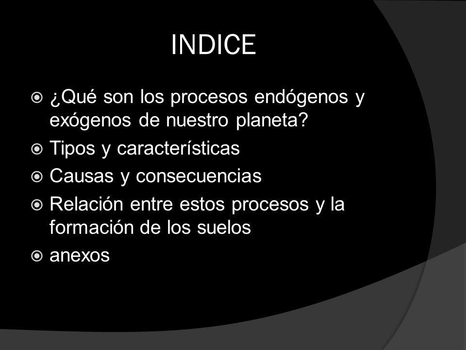 INDICE ¿Qué son los procesos endógenos y exógenos de nuestro planeta
