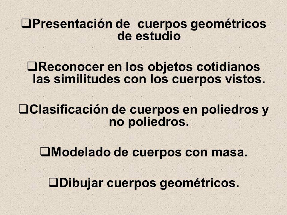 Presentación de cuerpos geométricos de estudio