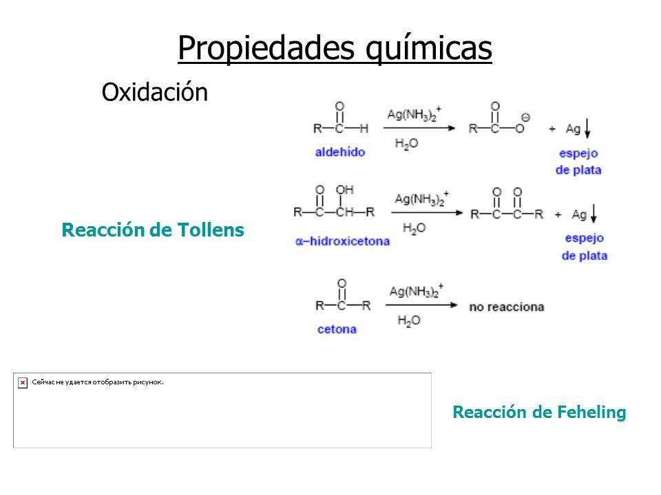 Propiedades químicas Oxidación Reacción de Tollens
