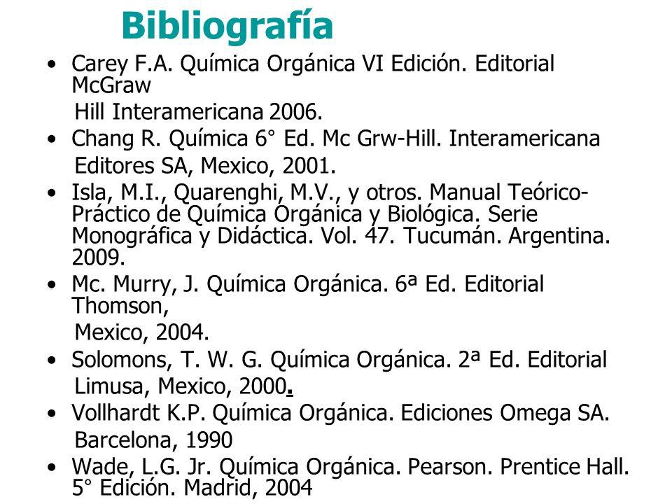Bibliografía Carey F.A. Química Orgánica VI Edición. Editorial McGraw
