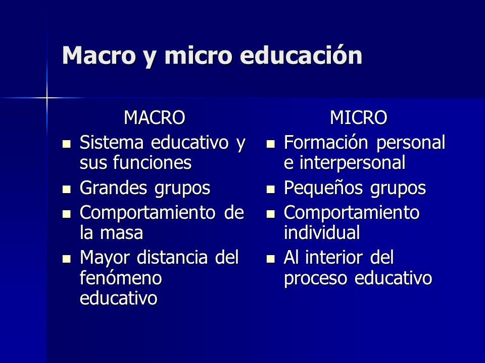 Macro y micro educación