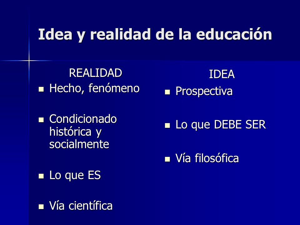 Idea y realidad de la educación