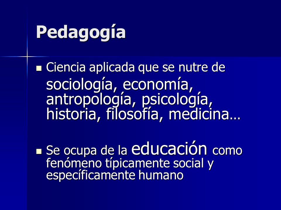 Pedagogía Ciencia aplicada que se nutre de