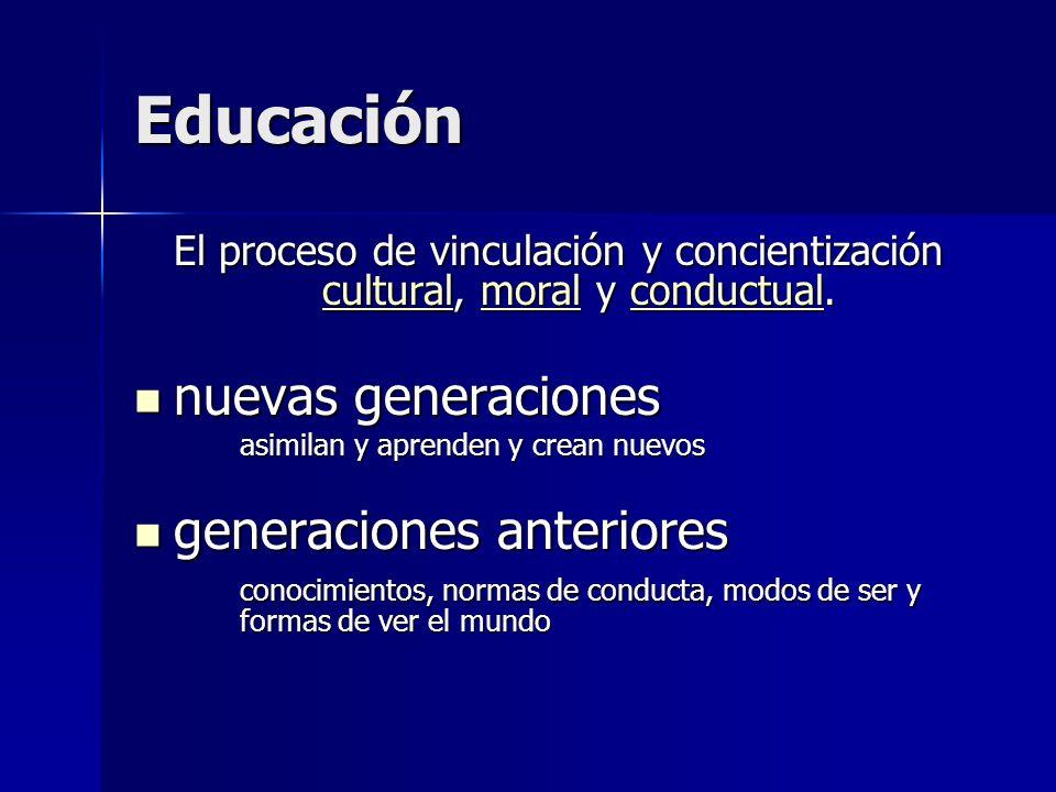Educación nuevas generaciones generaciones anteriores