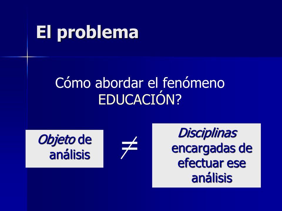 = El problema Cómo abordar el fenómeno EDUCACIÓN
