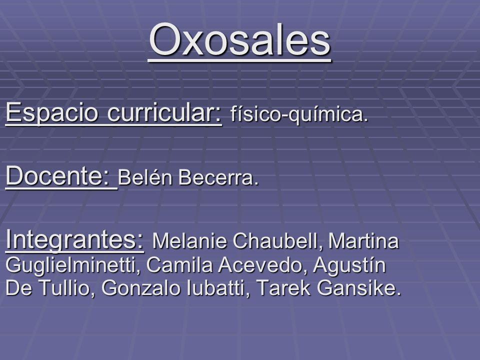 Oxosales Espacio curricular: físico-química. Docente: Belén Becerra.