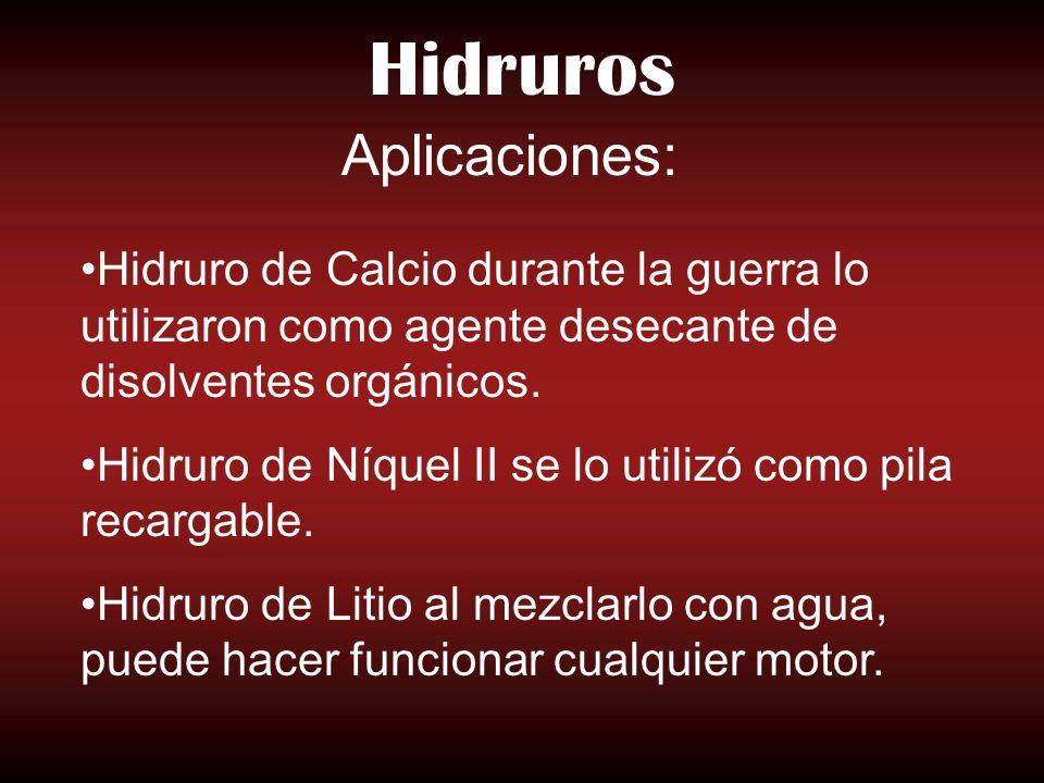 Hidruros Aplicaciones:
