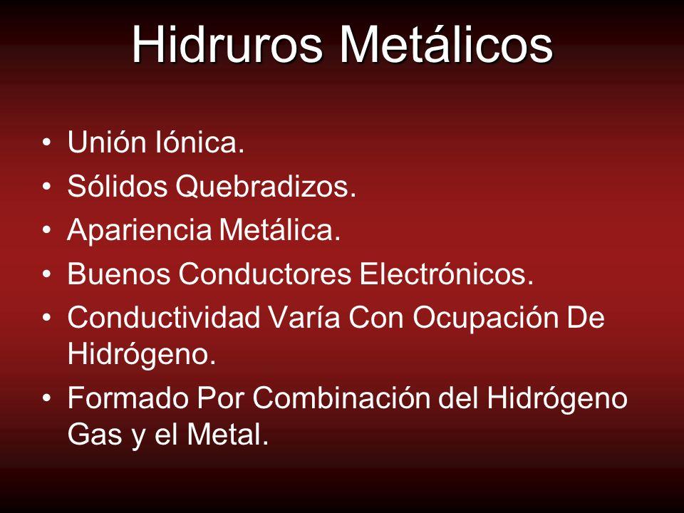 Hidruros Metálicos Unión Iónica. Sólidos Quebradizos.