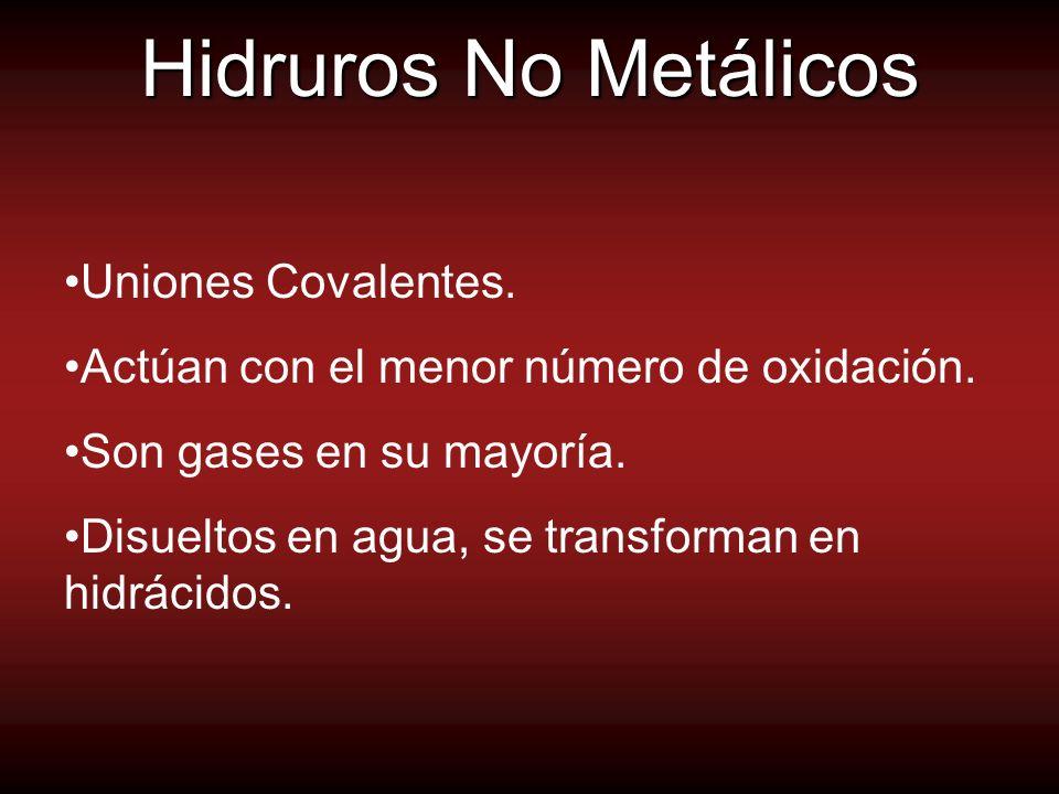 Hidruros No Metálicos Uniones Covalentes.