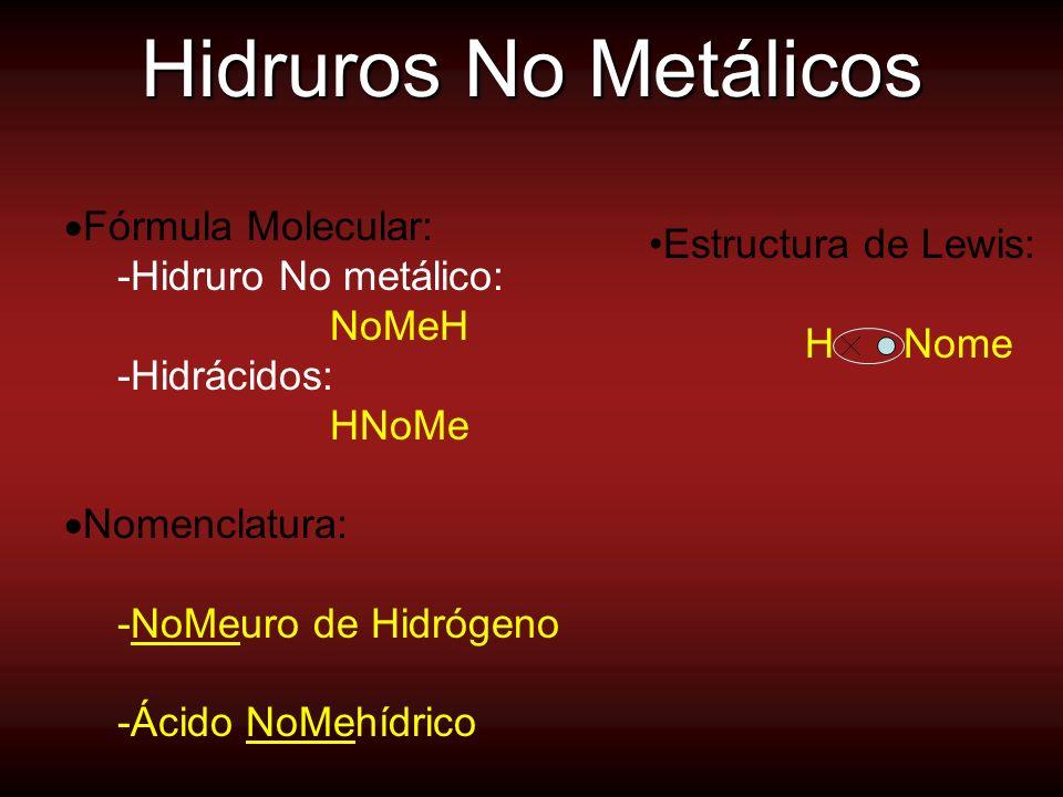 Hidruros No Metálicos Fórmula Molecular: Estructura de Lewis: