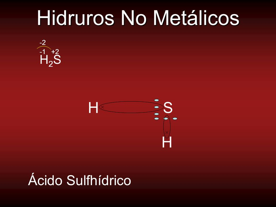 Hidruros No Metálicos -2 -1 +2 H2S H S H Ácido Sulfhídrico