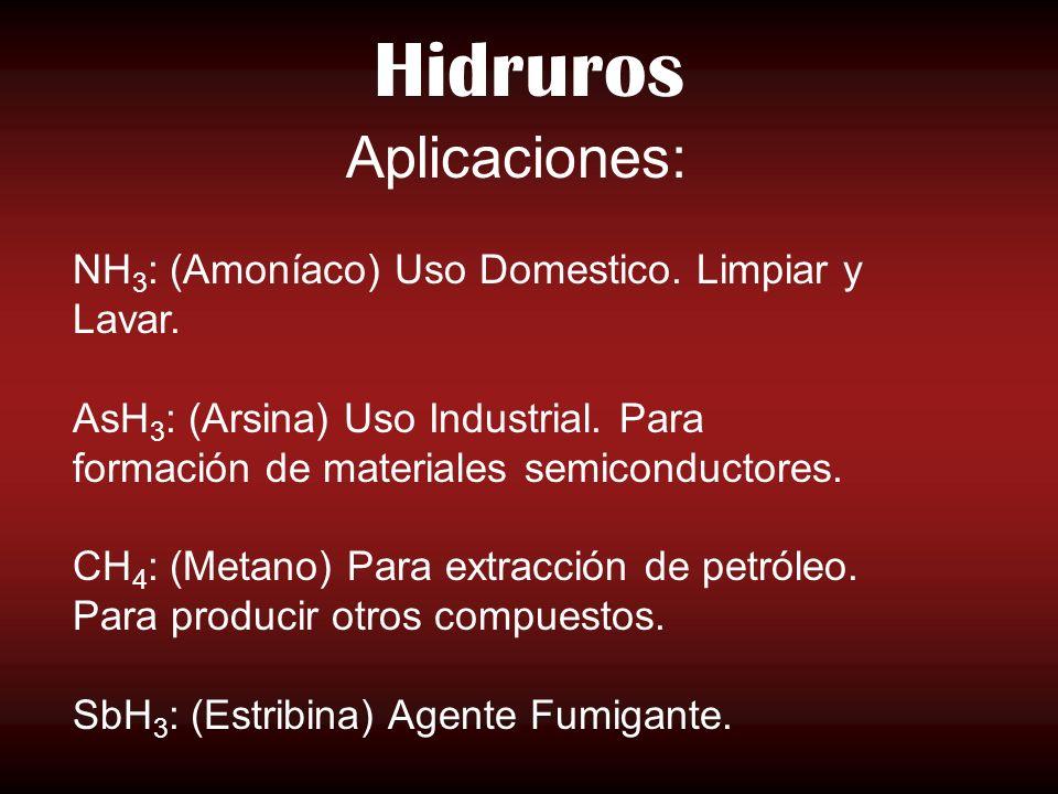 Hidruros Aplicaciones: NH3: (Amoníaco) Uso Domestico. Limpiar y Lavar.