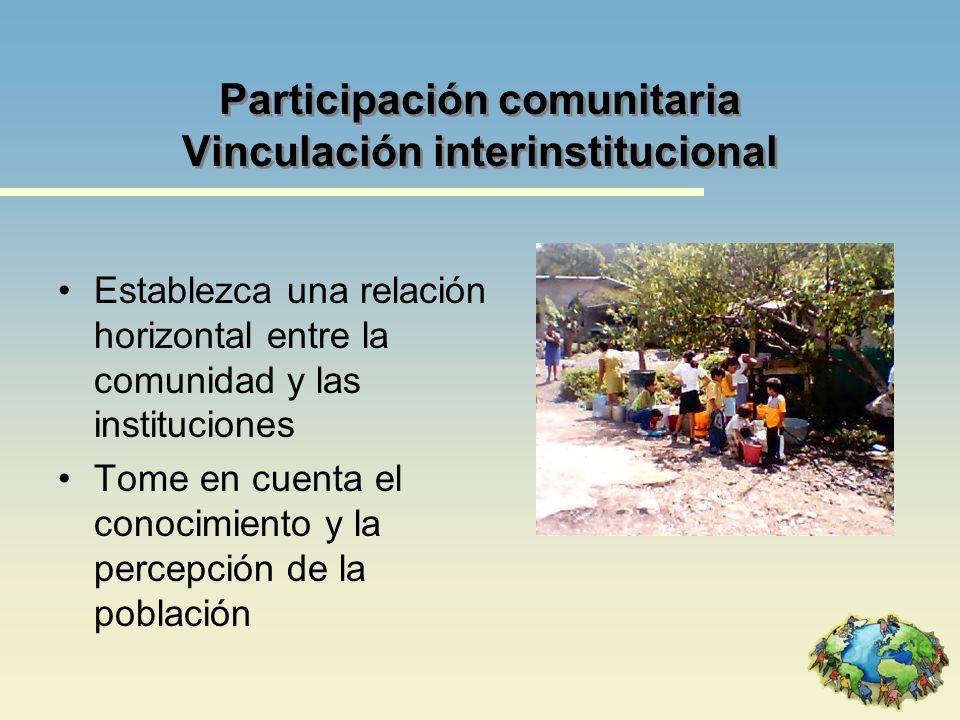 Participación comunitaria Vinculación interinstitucional
