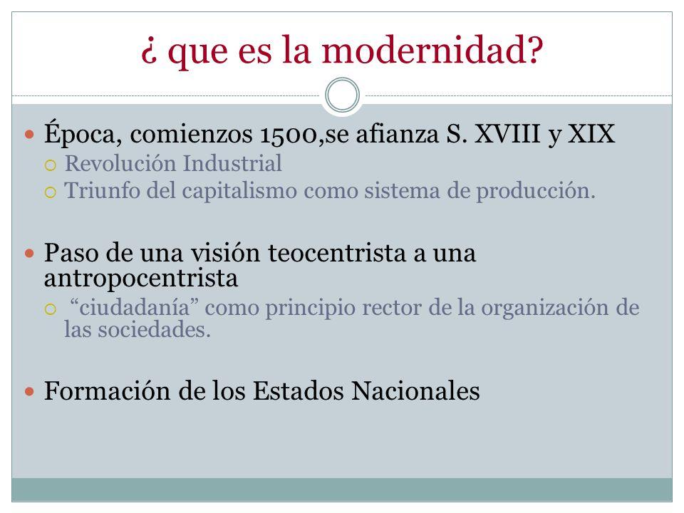 ¿ que es la modernidad Época, comienzos 1500,se afianza S. XVIII y XIX. Revolución Industrial. Triunfo del capitalismo como sistema de producción.