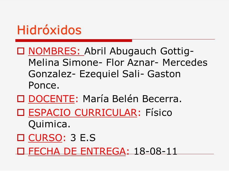 Hidróxidos NOMBRES: Abril Abugauch Gottig- Melina Simone- Flor Aznar- Mercedes Gonzalez- Ezequiel Sali- Gaston Ponce.
