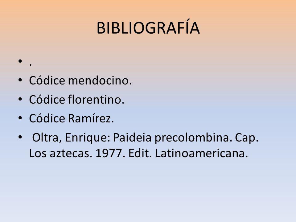 BIBLIOGRAFÍA . Códice mendocino. Códice florentino. Códice Ramírez.