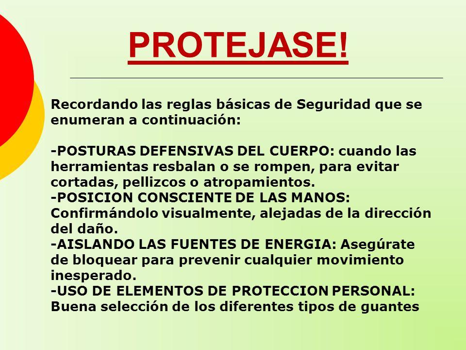 PROTEJASE! Recordando las reglas básicas de Seguridad que se enumeran a continuación: