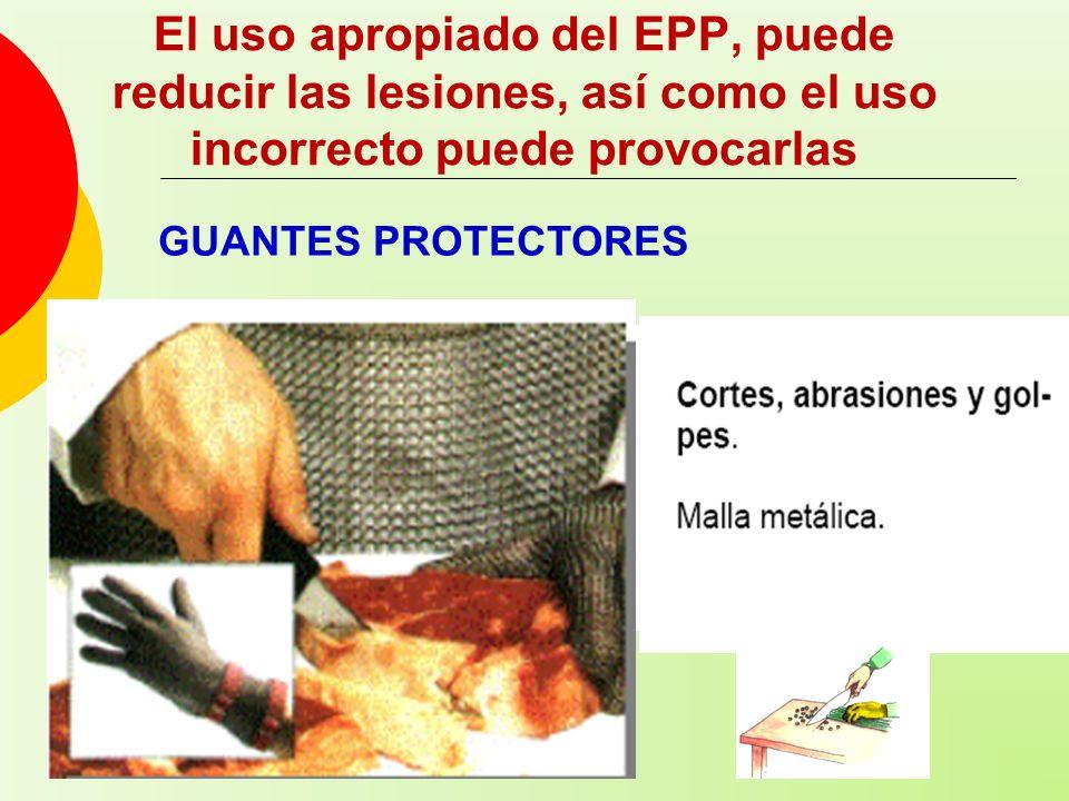 El uso apropiado del EPP, puede reducir las lesiones, así como el uso incorrecto puede provocarlas