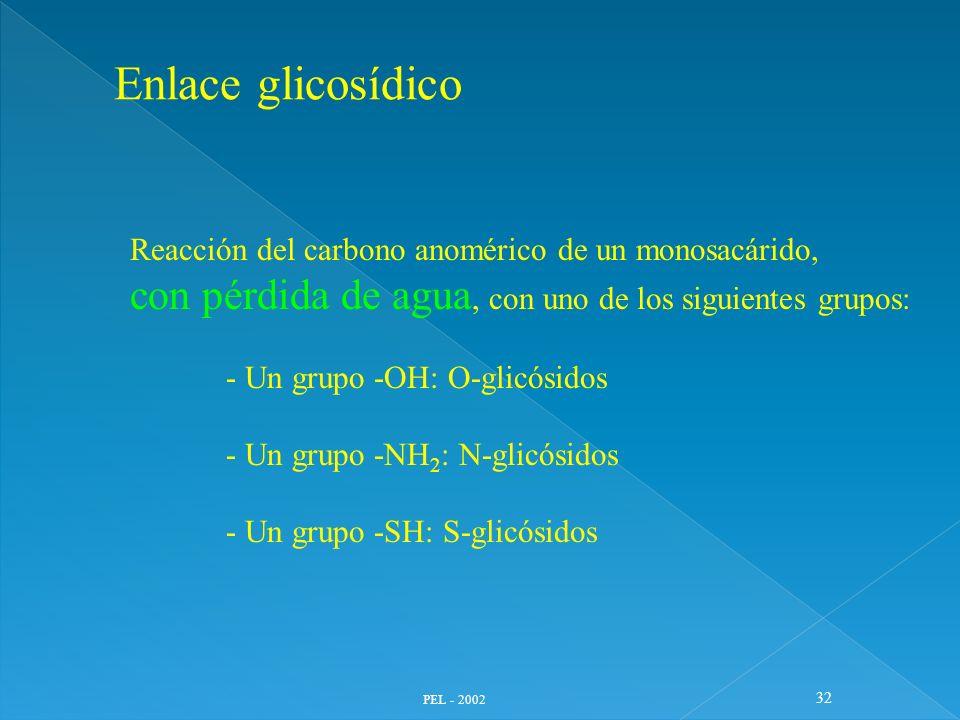 Enlace glicosídico Reacción del carbono anomérico de un monosacárido, con pérdida de agua, con uno de los siguientes grupos: