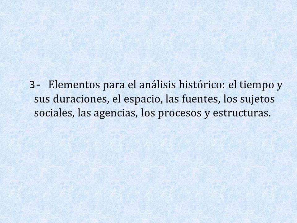 3- Elementos para el análisis histórico: el tiempo y sus duraciones, el espacio, las fuentes, los sujetos sociales, las agencias, los procesos y estructuras.