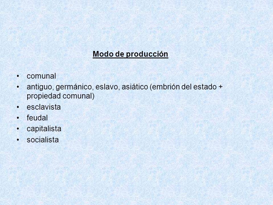 Modo de producción comunal. antiguo, germánico, eslavo, asiático (embrión del estado + propiedad comunal)