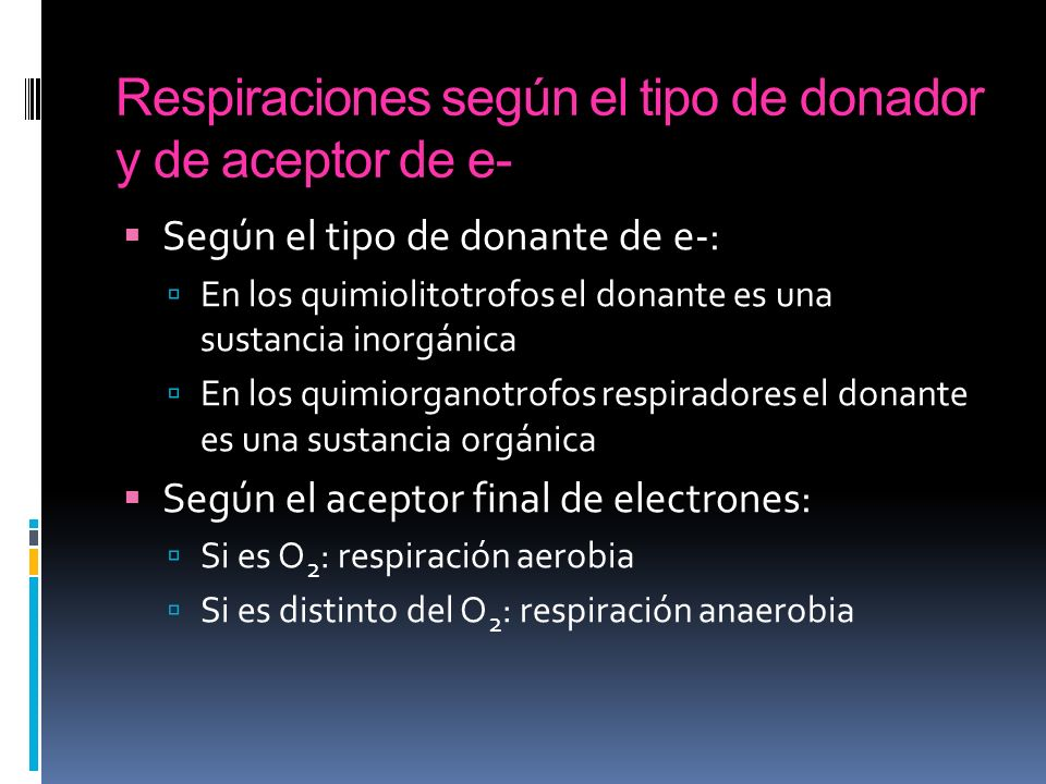 Respiraciones según el tipo de donador y de aceptor de e-