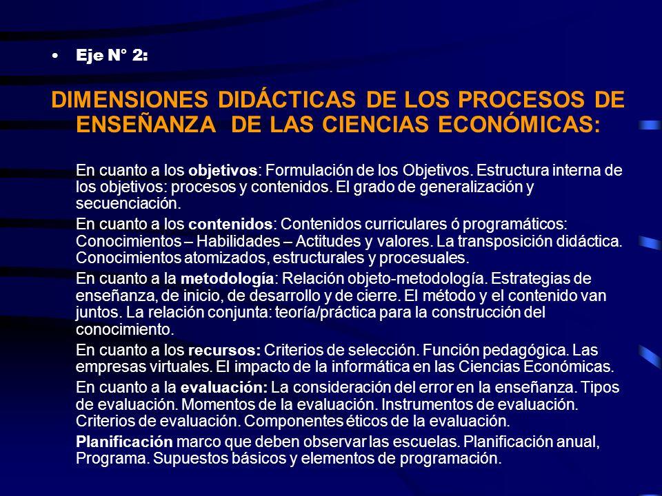 Eje N° 2: DIMENSIONES DIDÁCTICAS DE LOS PROCESOS DE ENSEÑANZA DE LAS CIENCIAS ECONÓMICAS: