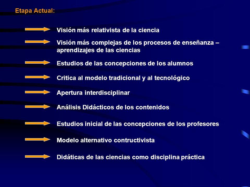 Etapa Actual: Visión más relativista de la ciencia. Visión más complejas de los procesos de enseñanza – aprendizajes de las ciencias.
