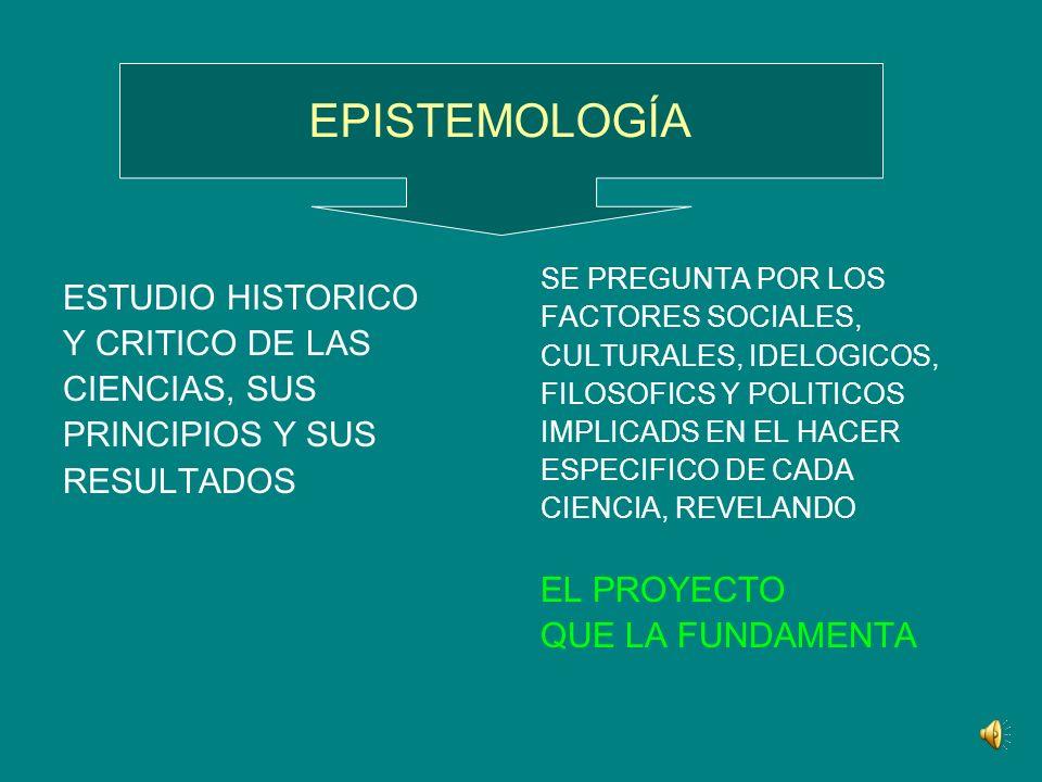 EPISTEMOLOGÍA ESTUDIO HISTORICO Y CRITICO DE LAS CIENCIAS, SUS