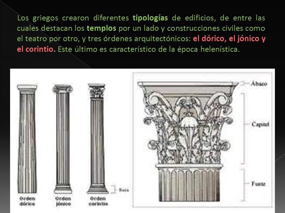 Los griegos crearon diferentes tipologías de edificios, de entre las cuales destacan los templos por un lado y construcciones civiles como el teatro por otro, y tres órdenes arquitectónicos: el dórico, el jónico y el corintio.