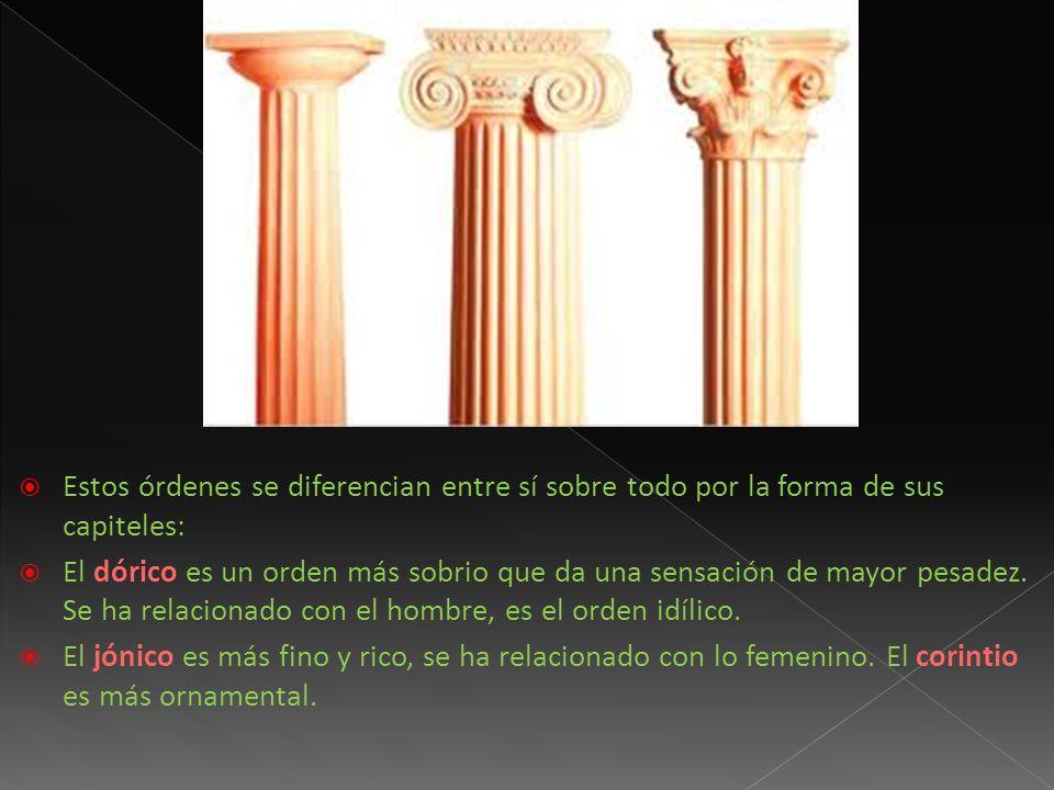 Estos órdenes se diferencian entre sí sobre todo por la forma de sus capiteles: