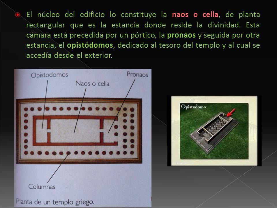 El núcleo del edificio lo constituye la naos o cella, de planta rectangular que es la estancia donde reside la divinidad.