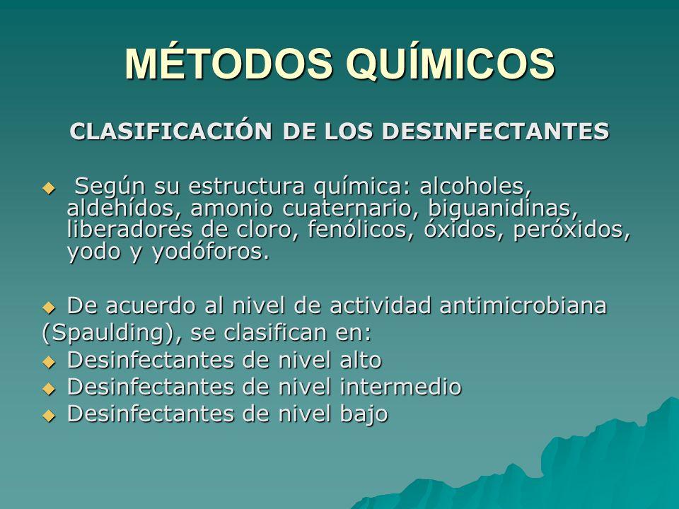 CLASIFICACIÓN DE LOS DESINFECTANTES