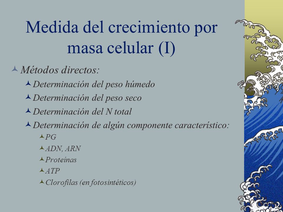 Medida del crecimiento por masa celular (I)