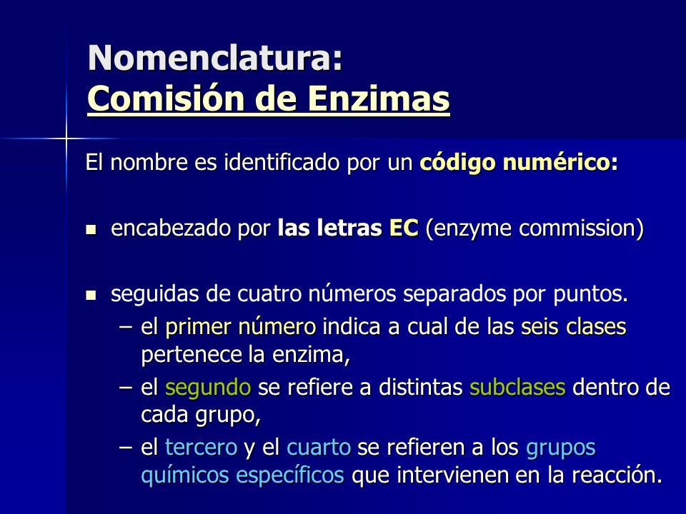 Nomenclatura: Comisión de Enzimas