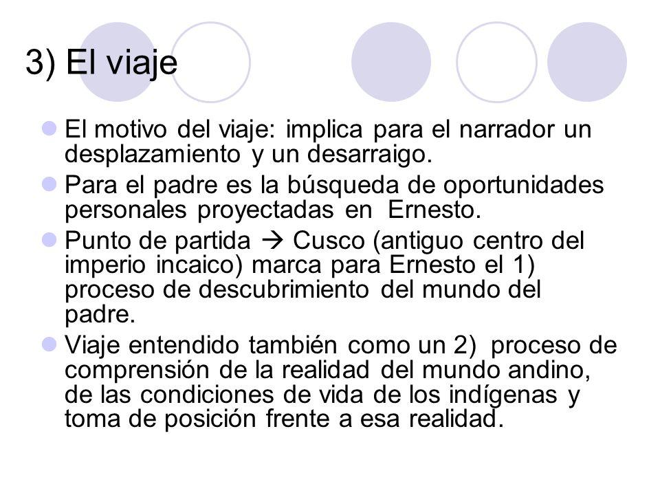 3) El viaje El motivo del viaje: implica para el narrador un desplazamiento y un desarraigo.