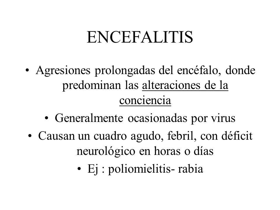 ENCEFALITIS Agresiones prolongadas del encéfalo, donde predominan las alteraciones de la conciencia.