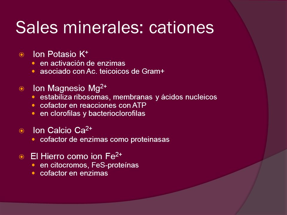 Sales minerales: cationes