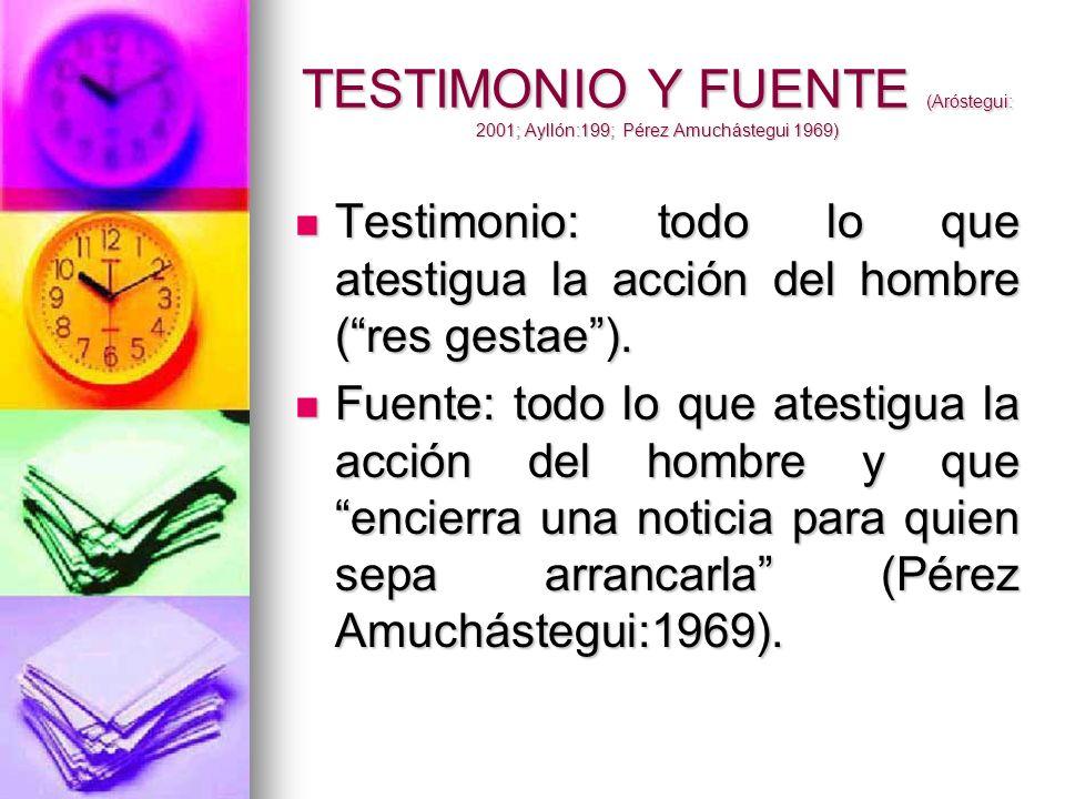 TESTIMONIO Y FUENTE (Aróstegui: 2001; Ayllón:199; Pérez Amuchástegui 1969)