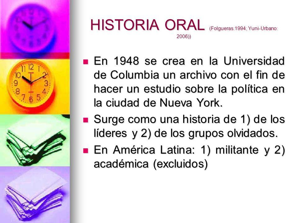 HISTORIA ORAL (Folgueras:1994; Yuni-Urbano: 2006))