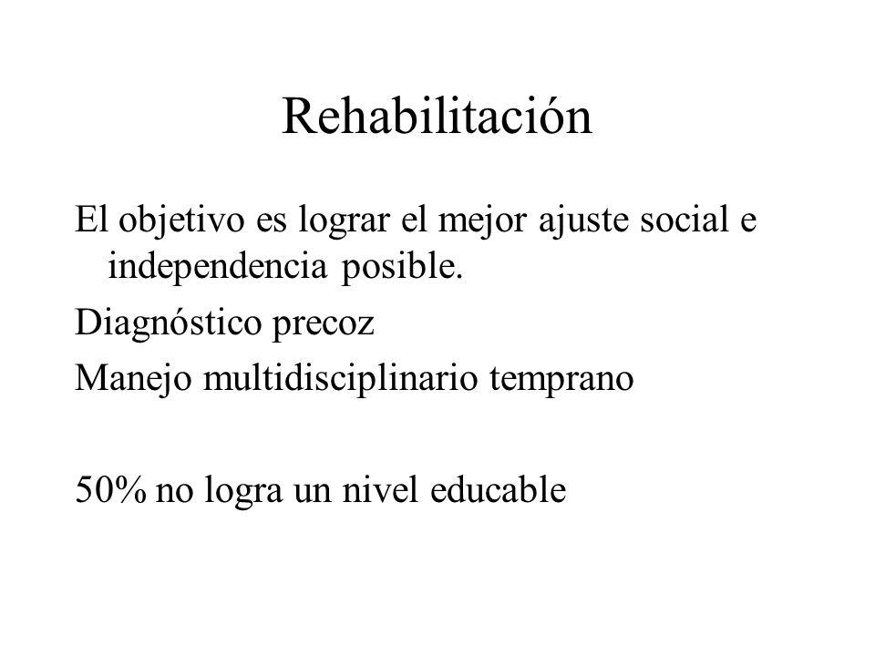 RehabilitaciónEl objetivo es lograr el mejor ajuste social e independencia posible. Diagnóstico precoz.