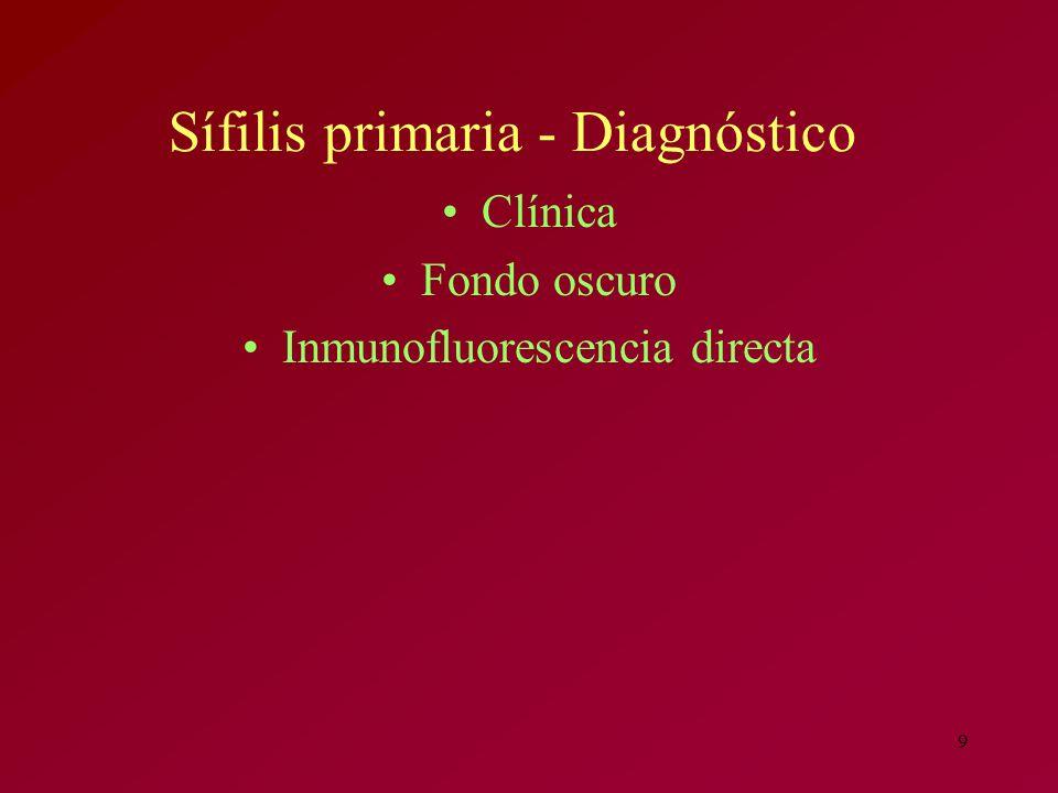 Sífilis primaria - Diagnóstico