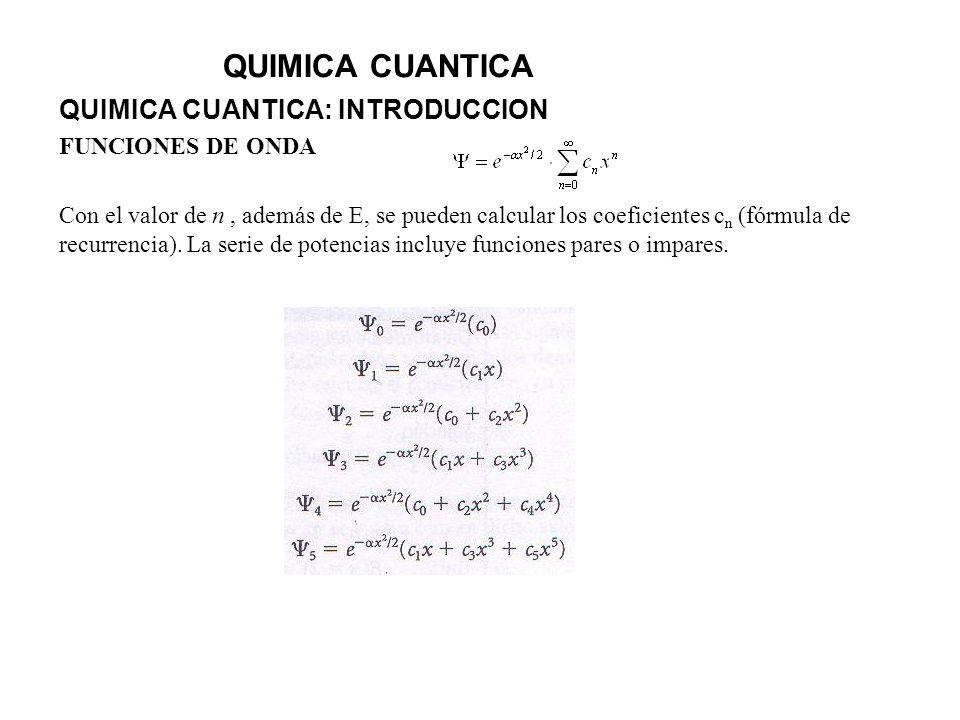QUIMICA CUANTICA QUIMICA CUANTICA: INTRODUCCION FUNCIONES DE ONDA