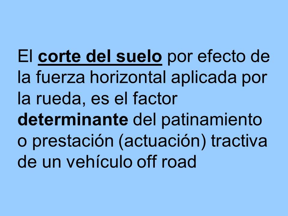 El corte del suelo por efecto de la fuerza horizontal aplicada por la rueda, es el factor determinante del patinamiento o prestación (actuación) tractiva de un vehículo off road