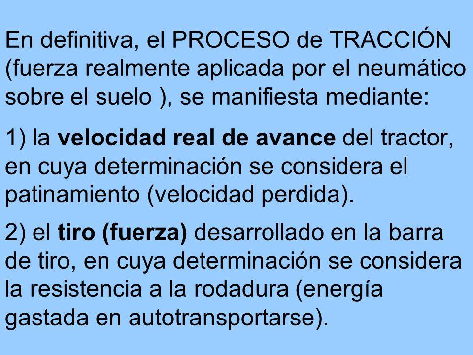 En definitiva, el PROCESO de TRACCIÓN (fuerza realmente aplicada por el neumático sobre el suelo ), se manifiesta mediante: 1) la velocidad real de avance del tractor, en cuya determinación se considera el patinamiento (velocidad perdida).
