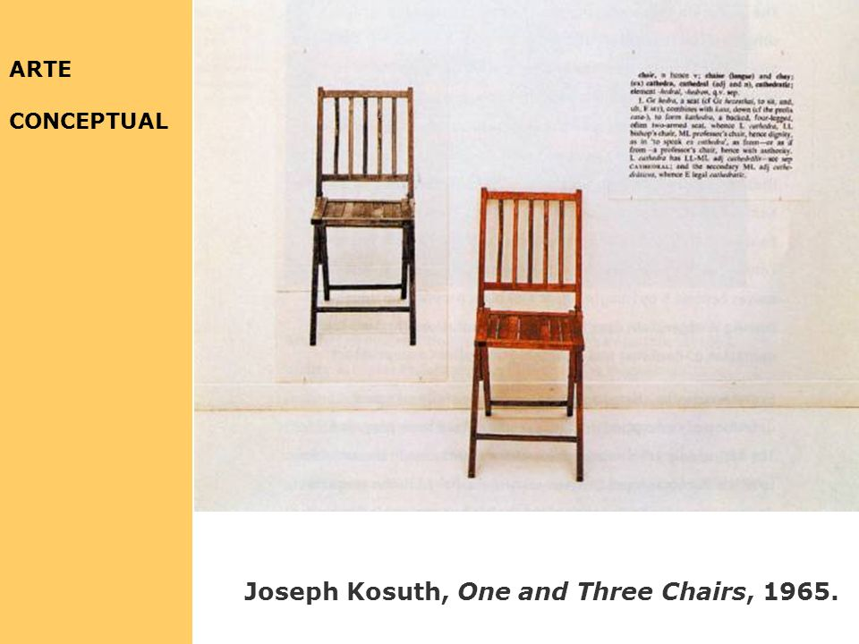 ARTE CONCEPTUAL Joseph Kosuth, One and Three Chairs, 1965.
