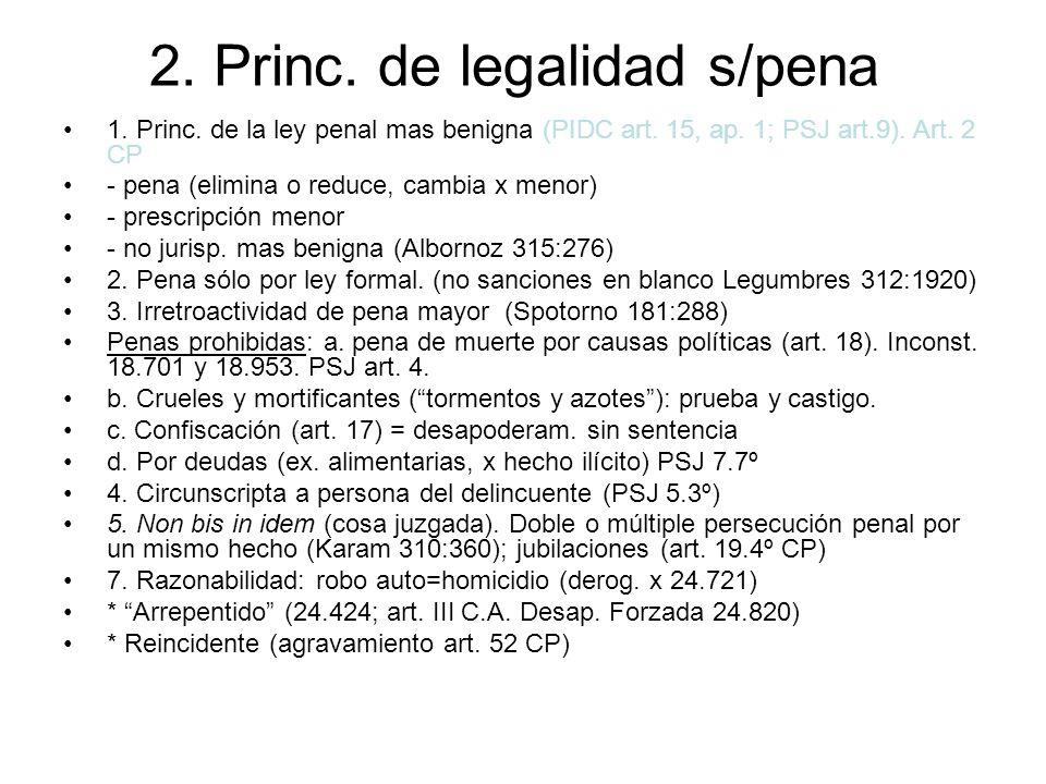 2. Princ. de legalidad s/pena