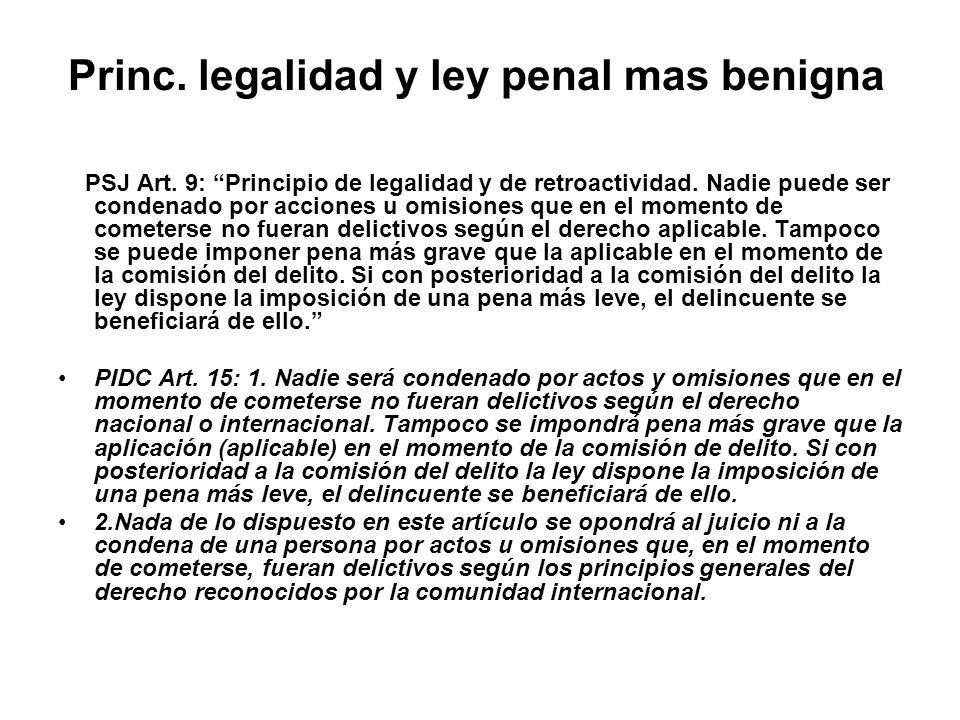Princ. legalidad y ley penal mas benigna